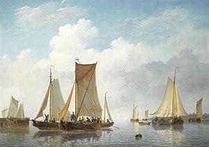 Frans Jacobus van den Blyk - Monding met schepen in rustig water.jpg