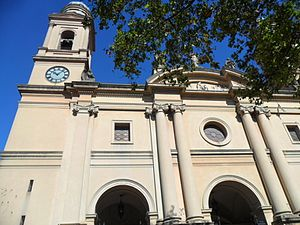 Montevideo Metropolitan Cathedral - An image of the façade of the Montevideo Metropolitan Cathedral showing the left tower.