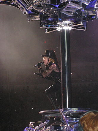 "Confessions Tour - Madonna coming out of a disco ball, during the opening performance of ""Future Lovers/I Feel Love""."