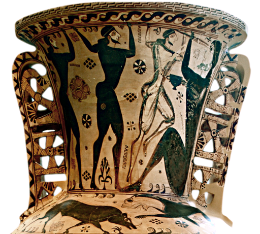 Funerary proto-Attic amphora by Polyphemos painter depicting Odysseus and his men blinding the cyclops Polyphemus from sarah murray flickr 8706777442 b4db371a26 o cropped white bg