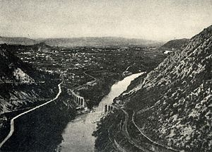 First Battle of the Isonzo - Solkan (left) and the Soča (Isonzo)