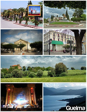 Guelma - From top left to bottom right clockwise: Souidani Boudjemmâa Boulevard, province administration, municipal theater, St. Augustine Place, Oued Maïz Road, the Roman theater, and Lake Bouhemdane