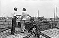G Nagarajan And Amalendu Roy Discussing - Concrete Roofing In Progress - Science City Site Office - Dhapa - Calcutta 1993-October 709.JPG