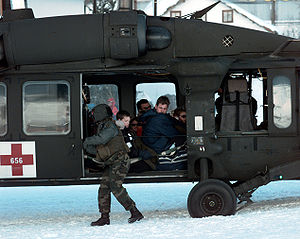 1999 Galtür avalanche - United States Army UH-60 Blackhawk helicopter crew preparing to evacuate stranded tourists in Galtür, Austria, on 25 February 1999