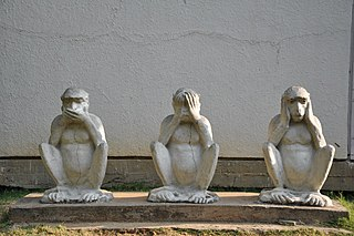 "Three wise monkeys Pictorial maxim, embodying ""see no evil, hear no evil, speak no evil"""