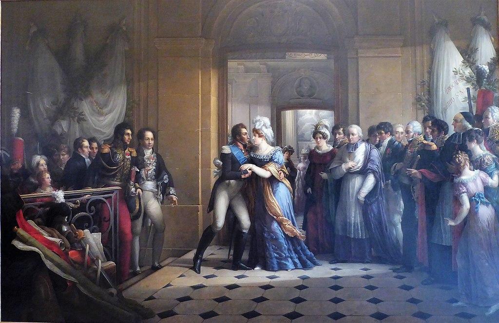 Entrevue du duc et de la duchesse d'Angoulême le 1er décembre 1823 au retour d'Espagne par Étienne-Barthélémy Garnier, musée des beaux-arts de Chartres.