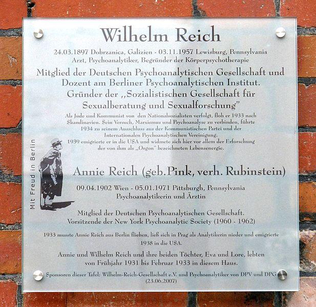 Archivo:Gedenktafel Wilhelm Reich.jpg