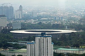 Gelora Bung Karno Sports Complex - A view of Jakarta's Bung Karno Sports Complex from the 46th floor of Wisma 46