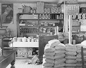 General store - Interior of a Moundville, Alabama USA general store, 1936.