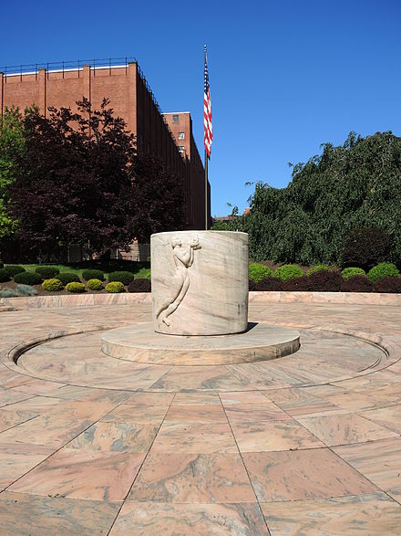 Memorial at Kodak Park in Rochester. Eastman's ashes lie beneath the Georgia marble monument. GeorgeEastmanMonumentEastSide.JPG