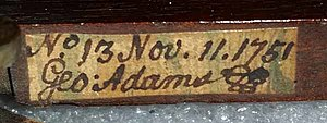 George Adams (instrument maker, elder) - Image: George Adams handwriting