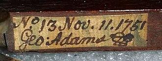 George Adams (instrument maker, elder) - Image: George Adams handwriting
