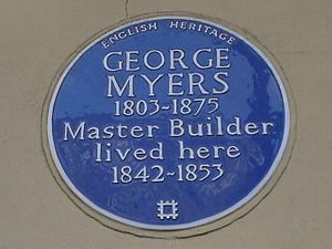 George Myers (builder) - Blue plaque to George Myers at his home into 131 St George's Road, London SE1