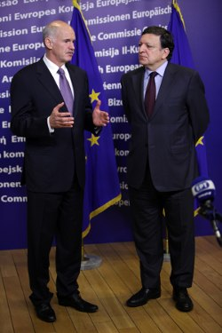 George Papandreou and Jose Manuel Barroso