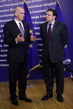 Greek government-debt crisis - Former Prime Minister George Papandreou and former European Commission President José Manuel Barroso after their meeting in Brussels on 20 June 2011.