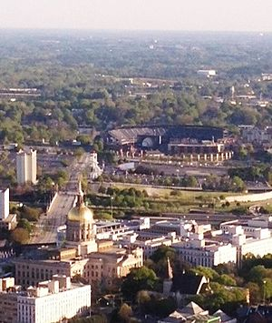 Georgia State Capitol - Georgia State Capitol with Turner Field in background