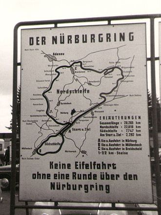 "Nürburgring - Nürburgring circuit map, taken at the 1964 German Grand Prix; the legend advises ""No driving in the Eifel (mountains) without a lap on the Nürburgring""."