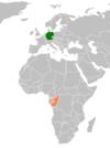 Lage von Deutschland und der Republik Kongo