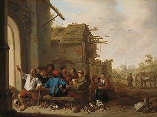 Figures before a Village Inn