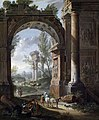 Giacomo van Lint - Shepherds and resting soldiers in front of an ancient city gate.jpg