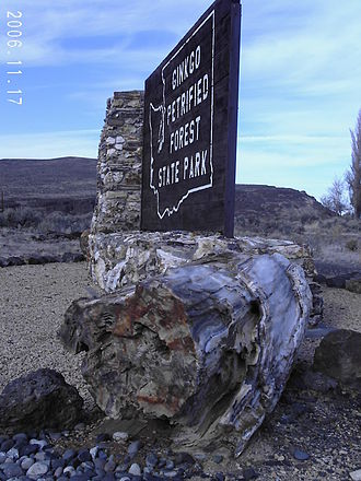 Ginkgo Petrified Forest State Park - Park entrance features a petrified log