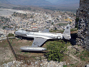 Lockheed T-33 - United States Air Force Lockheed RT-33 reconnaissance plane forced down in December 1957, on display in Gjirokastër, Albania.