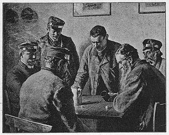 """Dienstmann - Rudolf Graf Rex: Würfelnde Dienstmänner (""""Dice-playing Dienstmänner""""), around 1890"""