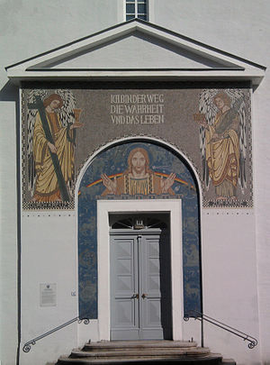 Josef Goller - Mosaic at the entrance of Christuskirche Bischofswerda (together with Villeroy & Boch)