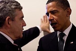 President Barack Obama confers with Prime Mini...