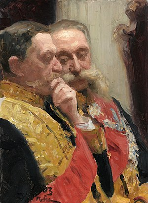 Ivan Goremykin - Ivan Goremykin (on the right) and Nikolai Gerard (in 1905 Governor-General of Finland) during a ceremonial meeting of the State Council May 7, 1901. Painting by Ilya Repin