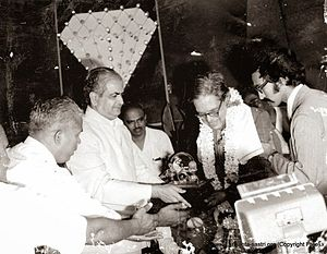 S. Srikanta Sastri - Governor Mohanlal Sukhadia honouring S. Srikanta Sastri