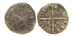 William II, Count of Hainaut - Holland, 1/4 groat, struck in Geertruidenberg by William IV as Count of Holland.