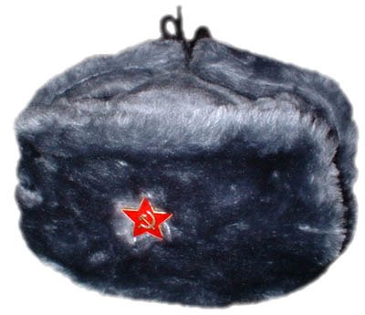A souvenir ushanka for tourists with ears tied up to the crown of the cap c8a6e844079b