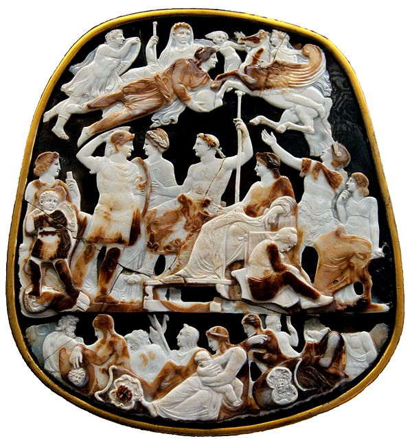 The deified Augustus hovers over Tiberius and other Julio-Claudians in the Great Cameo of France Great Cameo of France CdM Paris Bab264 white background.jpg