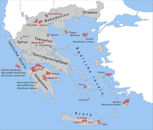 English: Greek wine regions with OPE (Green) a...
