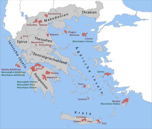 מפת אזורי היין של יוון - ירוק: OPE, יינות AOC. אדום - OPAP - יינות דרוג גבוה יותר (VQPRD)