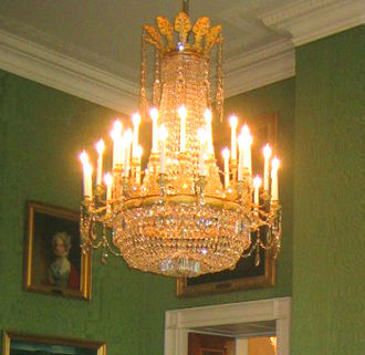 Chandelier - Early 19th-century French cut-glass and ormolu chandelier in the Green Room of the White House