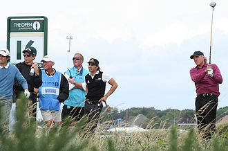 Greg Norman - Norman tees off in windy conditions at the 2008 Open Championship at Royal Birkdale.