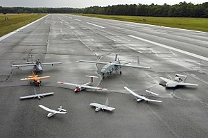 Group photo of aerial demonstrators at the 2005 Naval Unmanned Aerial Vehicle Air Demo.jpg