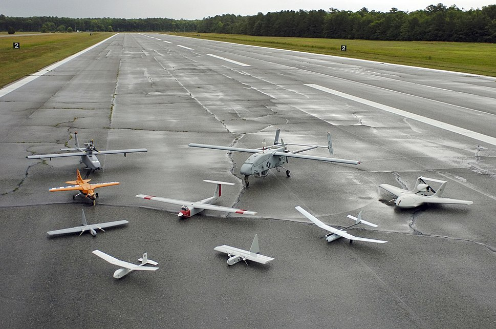 Group photo of aerial demonstrators at the 2005 Naval Unmanned Aerial Vehicle Air Demo