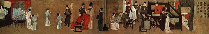 Uma pintura do século XII, versão da Dinastia Song de Festas Noturnas de Han Xizai, original de Gu Hongzhong. É uma obra-prima da arte da época, retratando servos, músicos, monges, crianças e hóspedes todos em um mesmo ambiente social. Ele serve como uma visão profunda da estrutura social da China do século X.