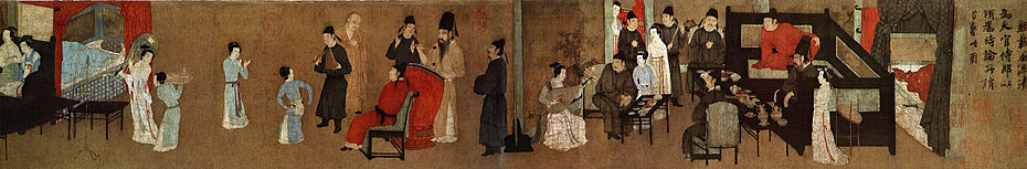 A small section of a larger painting of a party. On the left side, a man in red robes is seated in a chair. In front of him is a small female dancer, a male musician dressed in black, and a guest. Behind the chair is a second guest and a man in brown robes hitting a man sized drum with drumsticks. On the right side, several people sit around a bedroom area watching a woman play a large string instrument.