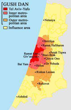Map of the Tel Aviv Metropolitan Area / Gush Dan