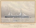H.M.S. Pandora Named and Floated at Portsmouth, January 17th 1900 by Mrs Trevylyan Napier. Rear Admiral Pelham Aldrich, Admiral Superintendent J.A. Yates, Esq, Chief Constructor RMG PU6313.jpg