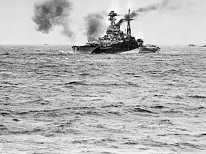 HMS Ramillies (07) - Ramillies bombarding German positions on the Normandy Coast, 6 June 1944 off Le Havre