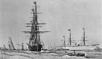 HMS Raleigh (1873) - Raleigh with HMS Serapis, during the visit of the Prince of Wales to Bombay in 1875