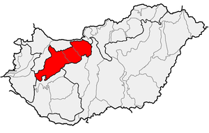 Transdanubian Mountains - Transdanubian Mountains within physical subdivisions of Hungary