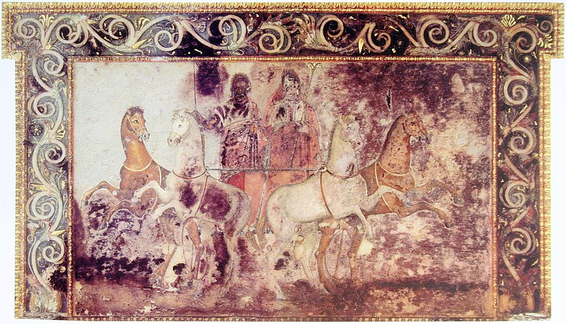 A fresco showing Hades and Persephone riding in a chariot, from the tomb of Queen Eurydice I of Macedon at Vergina, Greece, 4th century BC Hades and Persephone, Vergina.jpg