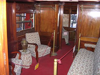 Birmingham Railway Carriage and Wagon Company - Compartment of luxury saloon coach built for Palestine Railways in 1922, now preserved at the Israel Railway Museum in Haifa