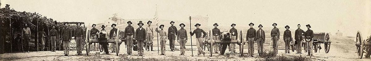 Half of the 20th Indiana Battery outside Chattanooga, TN, 1864